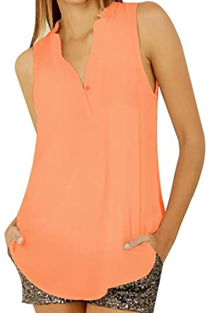 Image Unavailable. Image not available for. Color  Orange Sleeveless  Chiffon Blouse
