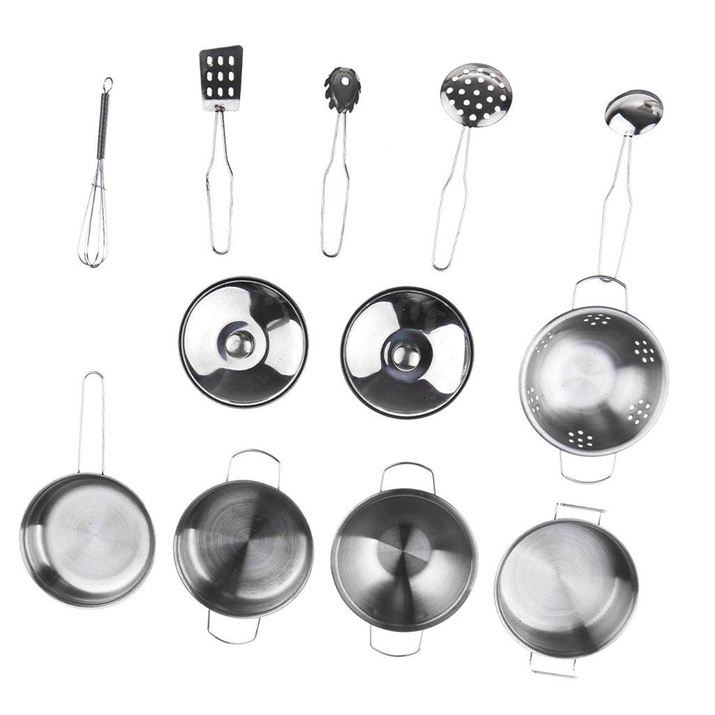 MagiDeal Kids Kitchen Metal Cookware Playset, All Purpose Kitchen Cooking Tool Set - C, 12pcs/Set