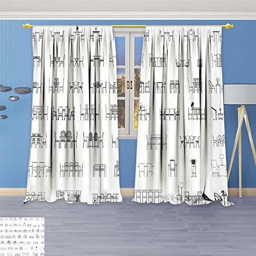 SOCOMIMI Antique Decor Collection,Table and Chair Elevation Vector Furniture Plan Symbol icon,Living Room Bedroom Curtain 2 Panels Set, 84W x 72L inch