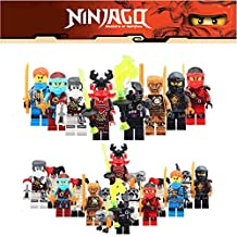 ABG toys 16 Minifigures Ninjago Gold Phantom Ninja Jay, Kai, Cryptor, Kozu, Echo Zane, Nya, Zane, Cole Minifigure Series Building Blocks Sets Toys