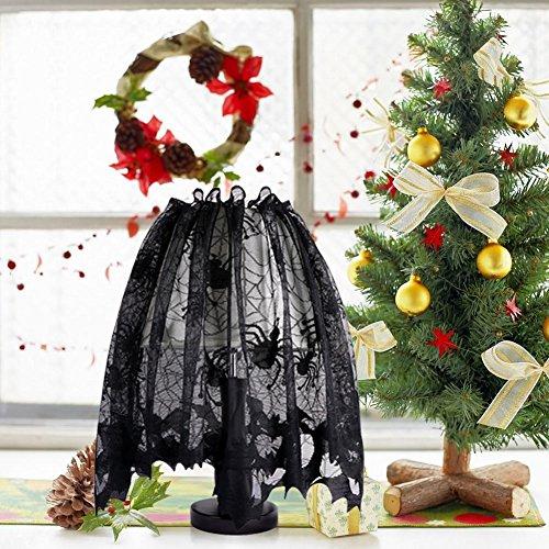 Cheap  Aytai Black Christmas Ornaments Lace Lamp Shades Cover with Ribbon Window Valance..