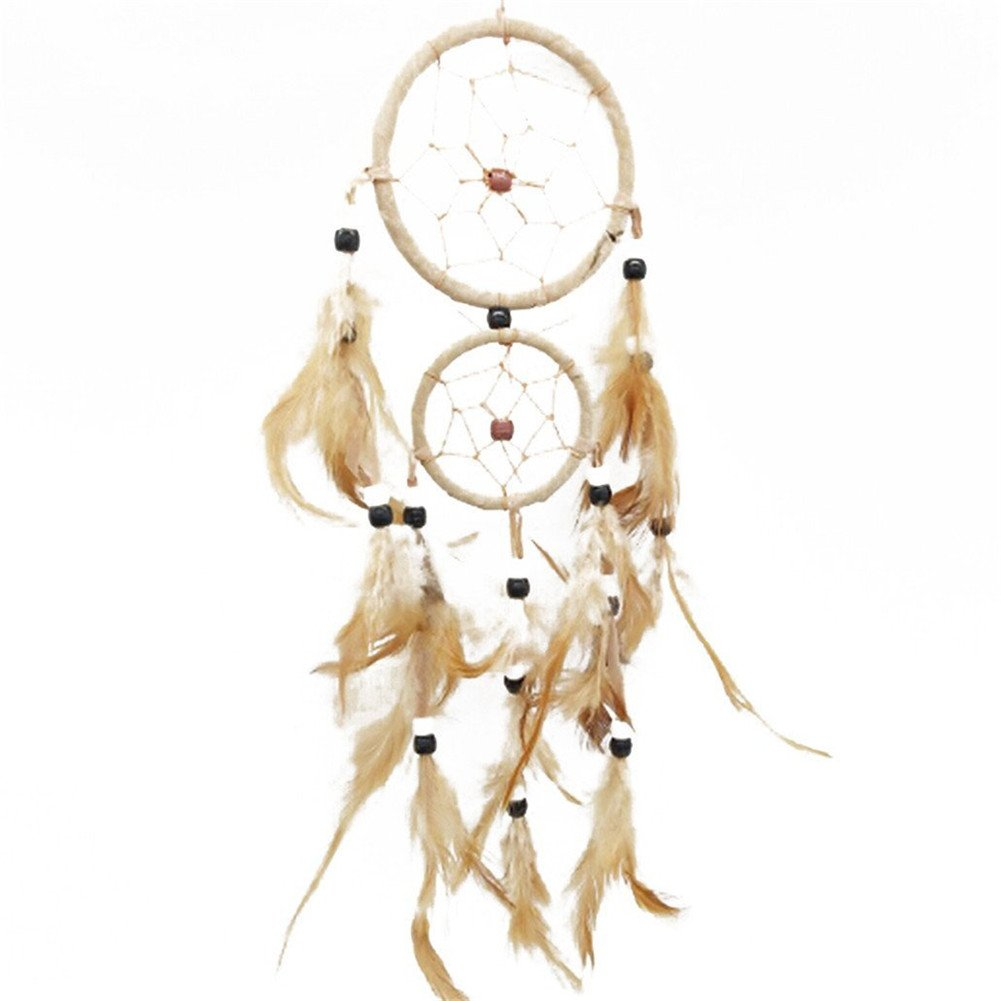 Gluckliy Dream Catcher Circular Net with Artificial Feathers Room Window Wall Hanging Decoration Ornament for Home Car Decor (Khaki) fangqiang