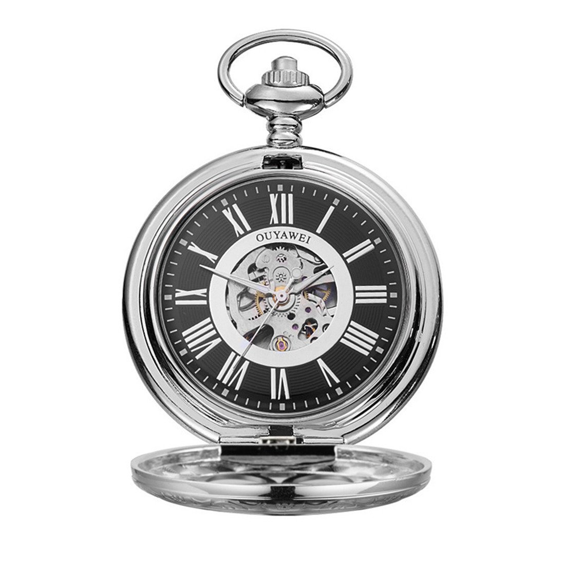 Funique Unisex Roman Numerals Classic Mechanical Pocket Watch with Perspective Bottom Cover(Silver color 1)