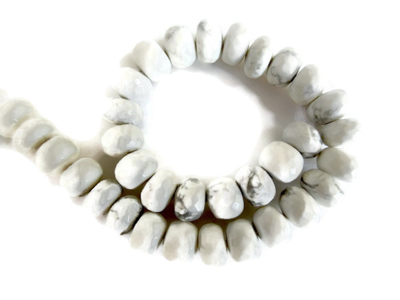 Natural White Howlite Faceted Rondelles Beads, 9mm Howlite Beads, Howlite Gemstone beads, Howlite Jewelry, GDS923 (5 Strands, 150pcs)