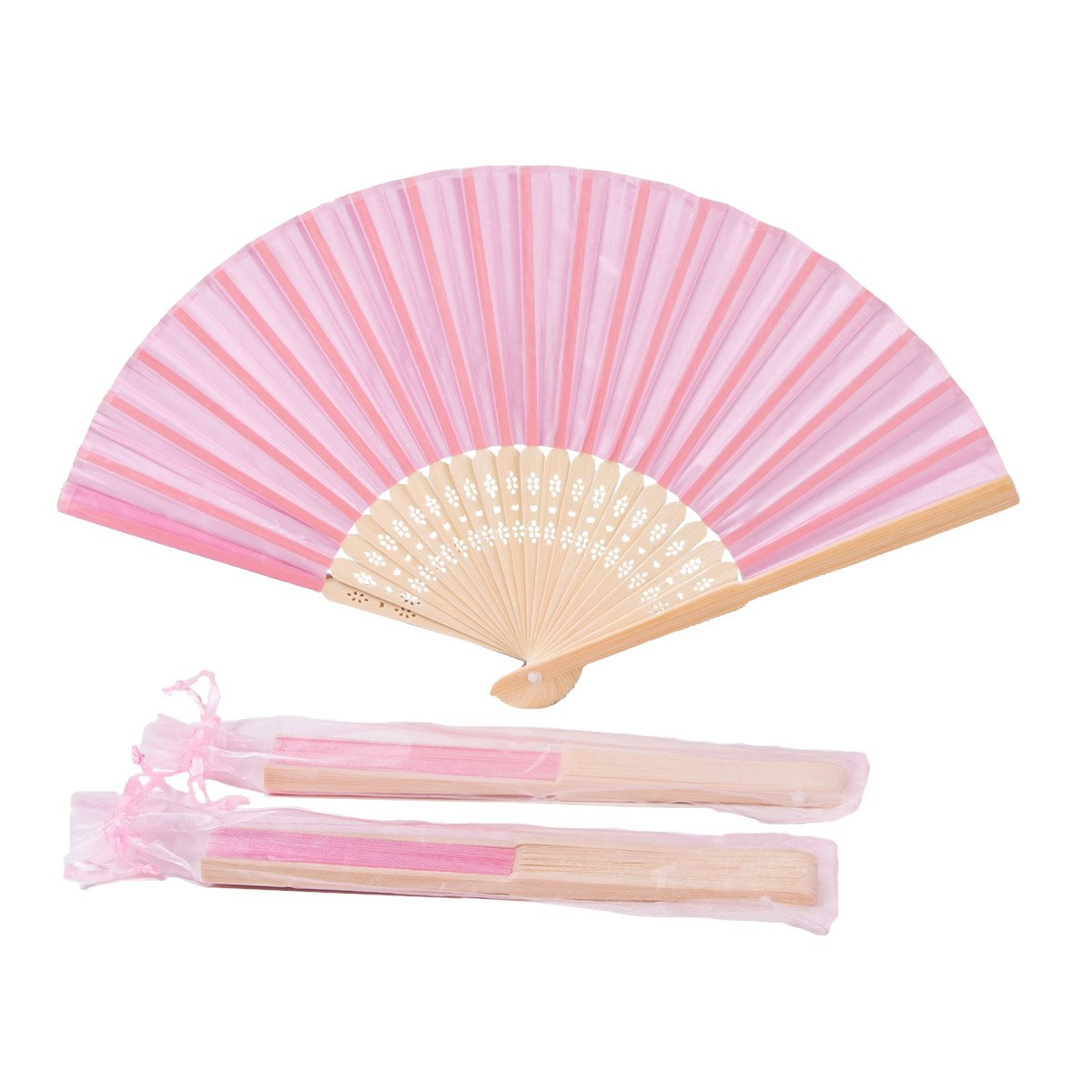Sepwedd 50pcs pink Imitated Silk Fabric Bamboo Folded Hand Fan Bridal Dancing Props Church Wedding Gift Party Favors with gift bags