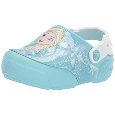 Crocs Kids' Fun Lab Frozen Elsa Light-Up Clog, Ice Blue, 12 M US Little Kid | Mules & Clogs