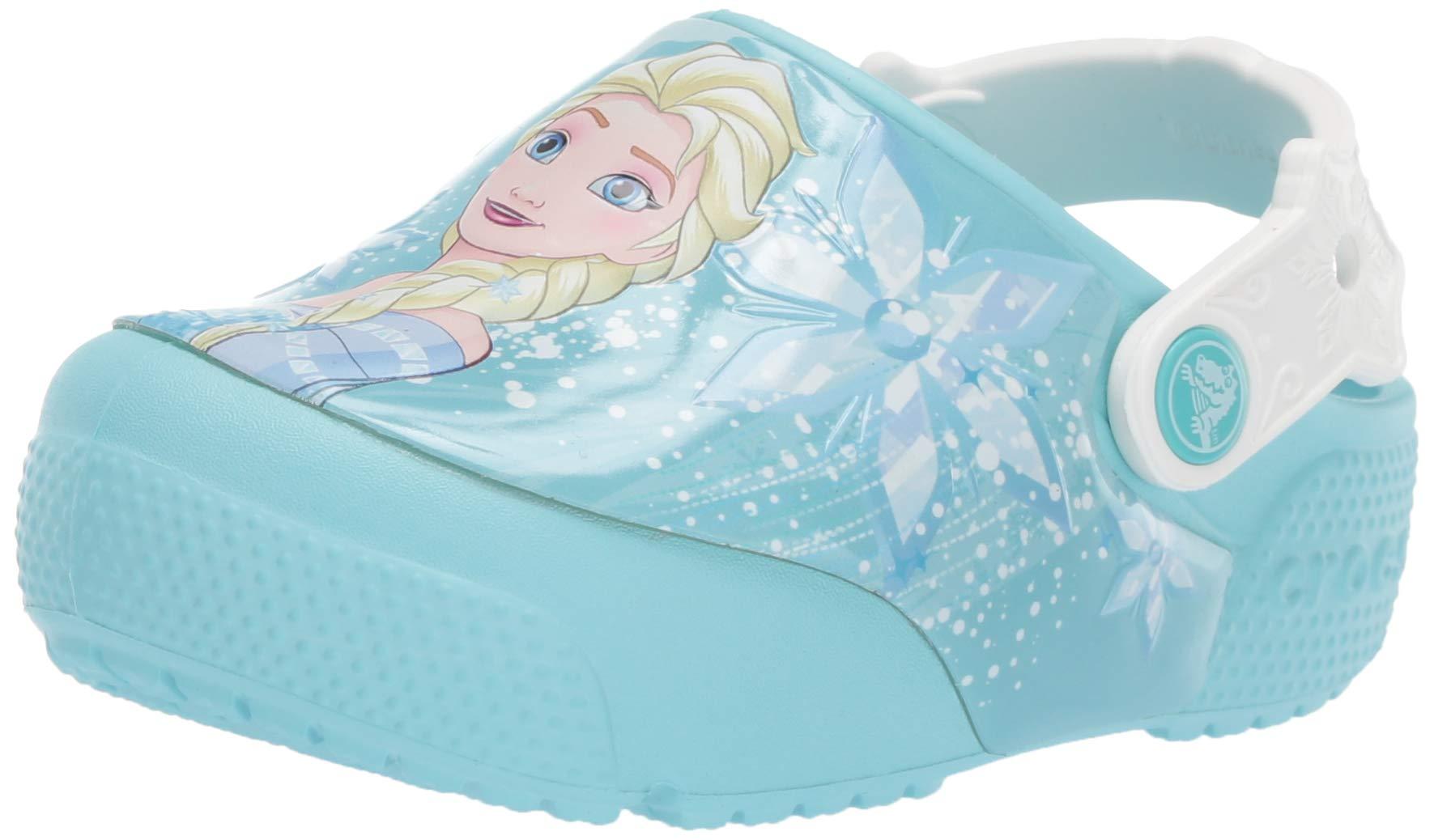 Crocs Kids' Fun Lab Frozen Elsa Light-Up Clog, Ice Blue, 12 M US Little Kid