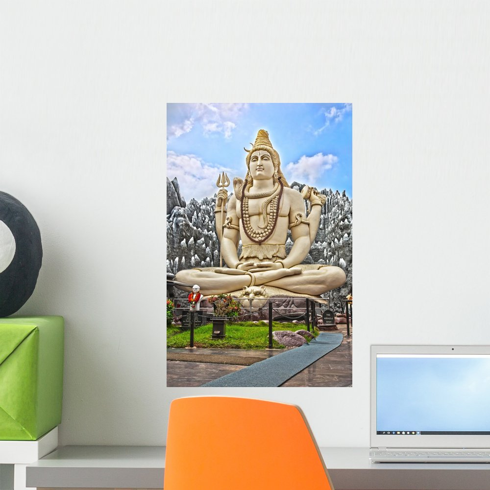 Amazon com wallmonkeys fot 30757076 24 wm159403 big shiva statue in bangalore peel and stick wall decals 24 in h x 16 in w medium home kitchen