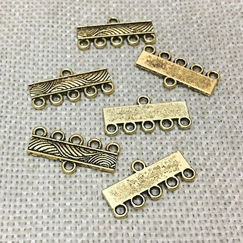 - 20 pcs Chunky Necklace Connector Toggle Clasps Loops Jewelry Findings Strand Bracelet Layer Buckle Pendant Bails Tassel Chandelier Drop Earrings Tags Charms (21 mm 5 hole Antique Gold)