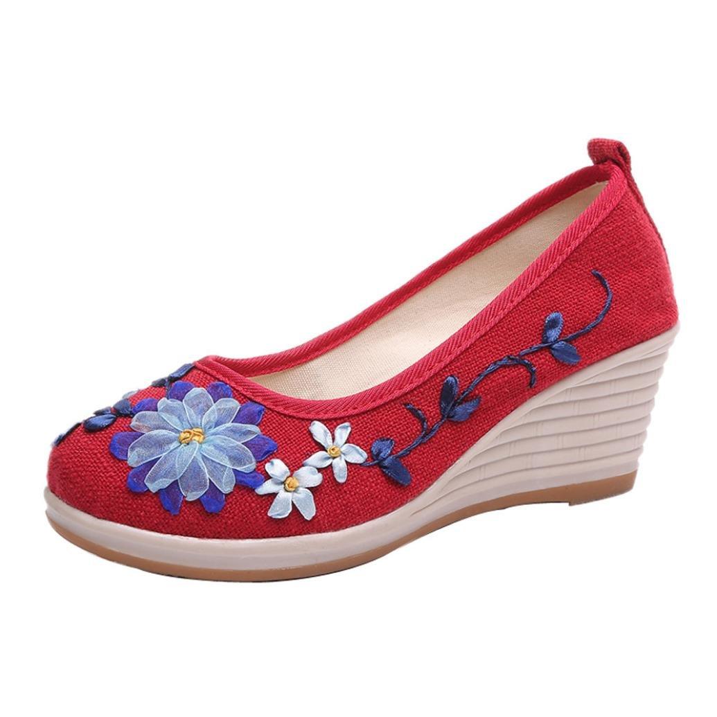 Lazzboy Damen Ethnischer Stil Flachs mit Gesticktem Rib Bottom Casual Schuhe  36 EU|Rot