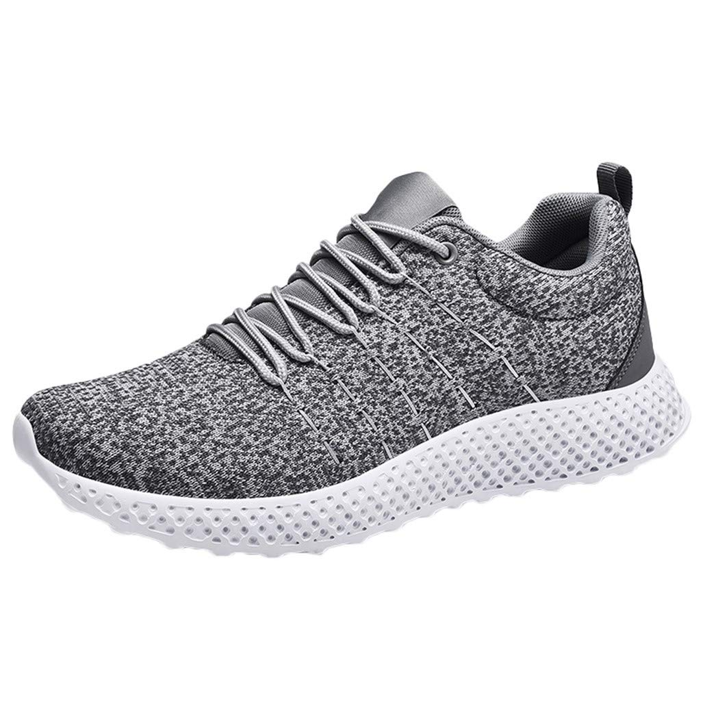 Men's Running Shoe - 【MOHOLL】 Knit Sneaker Breathable Ultra Light Jogging Shoes Autumn Sneakers Gray