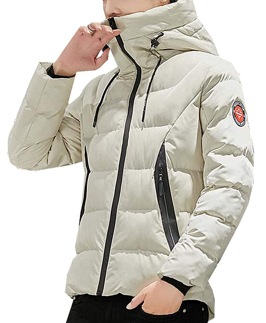 SHOWNO Mens Hooded Thick Winter Turtle Neck Solid Down Quilted Jacket Coat Outwear