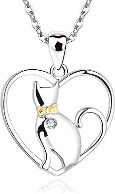 JO WISDOM Collares colgante Gato en el corazón plata de ley 925 ...