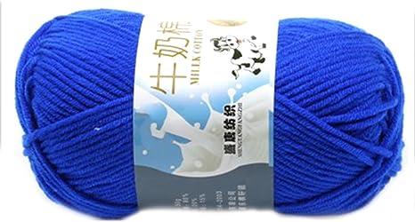 Smooth Cotton Natural Hand Knitting Wool Yarn Ball Baby Wool Craft-Dark Royal Blue