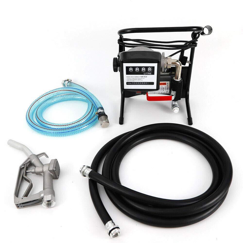 H 375W Pompe /à Fuel,Portable Pompe /à Diesel kit Station gasoil autoaspirante 2400L