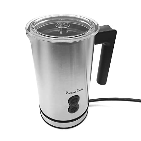 Fortune Candy Milk Frother, Electric Automatic Milk Foam Maker and Warmer for Latte and Cappuccino, ETL Certified, BPA Free Brushed Stainless Steel
