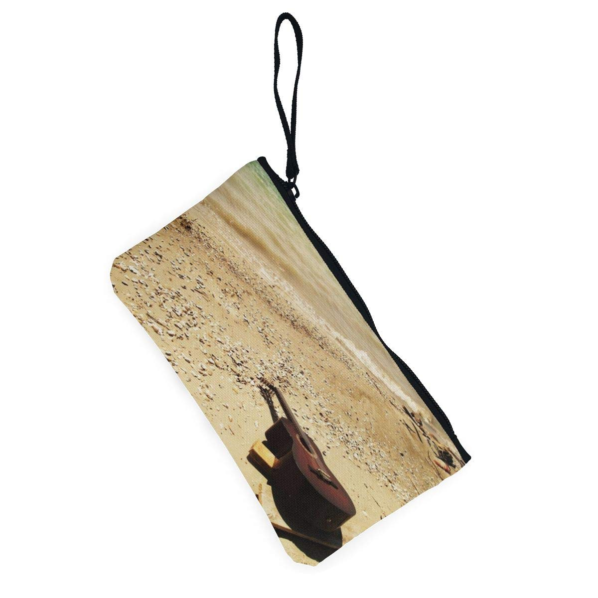 Guitar/_sea/_beach/_music Zipper Canvas Coin Purse Wallet Make Up Bag,Cellphone Bag With Handle