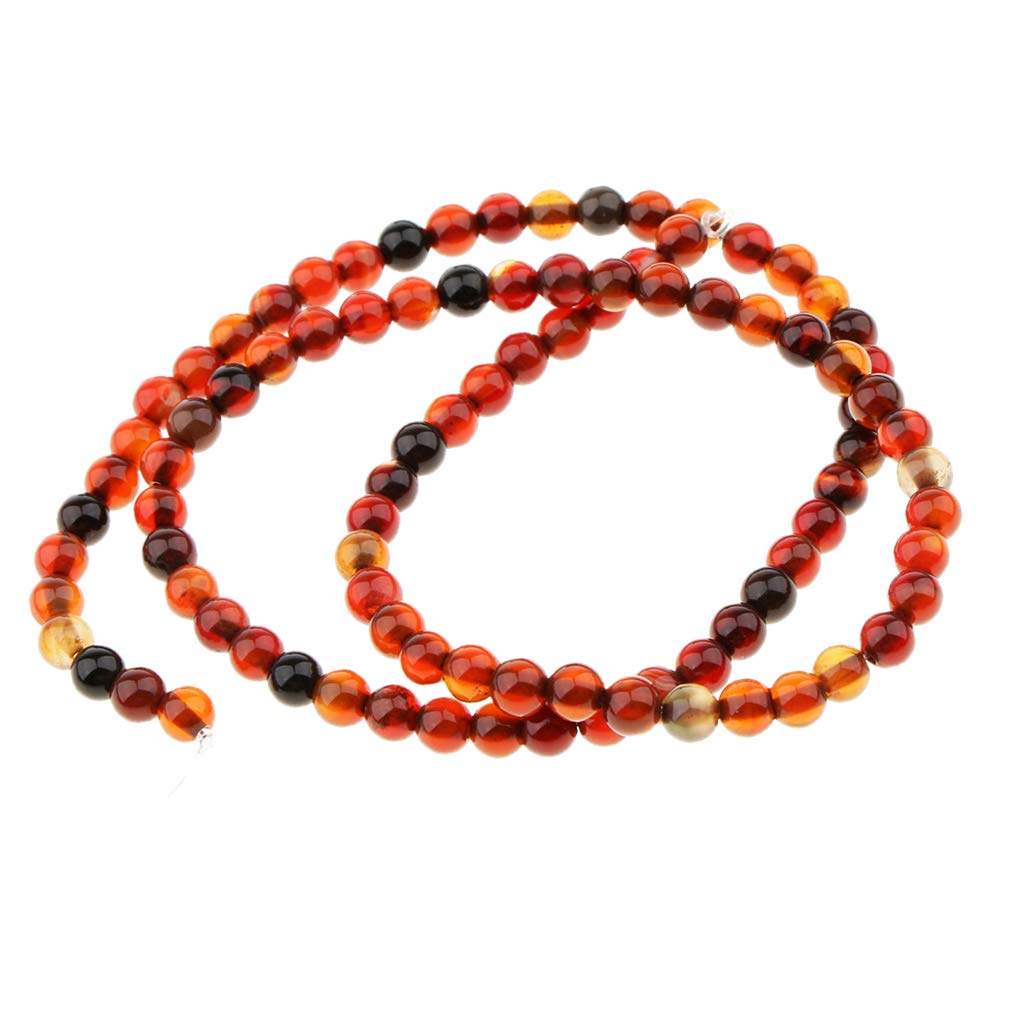 Fenteer Natural Agate Gemstone Loose Beads Round Crystal Stone for Jewelry Making - red, 4MM