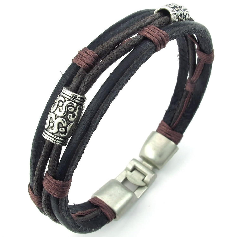 KONOV Bijoux Bracelet Homme , Tribal Tressé Manchette , Cuir Cordon , Alliage , Fantaisie ,