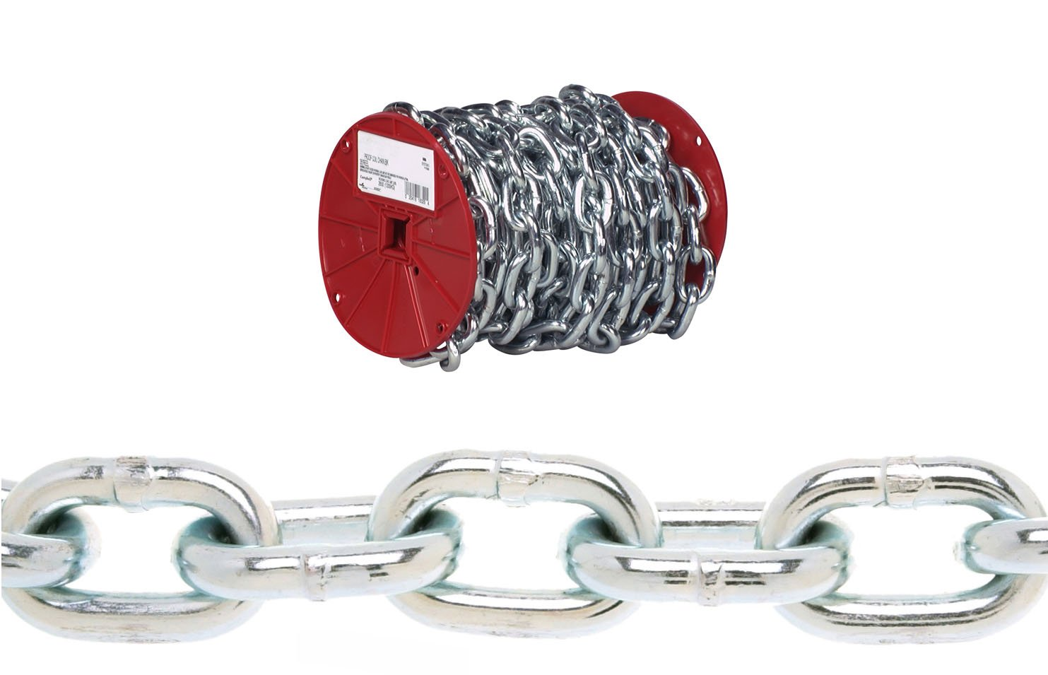 CAMPBELL 0722127 System 3 Grade 30 Low Carbon Steel Proof Coil Chain, Zinc Plated, 1/4-Inch Trade, 0.26-Inch Diameter, 1300-Pound Load Capacity, 65 Feet Reel 1/4 Inch Trade 0.26 Inch Diameter 1300 lbs. Load Capacity
