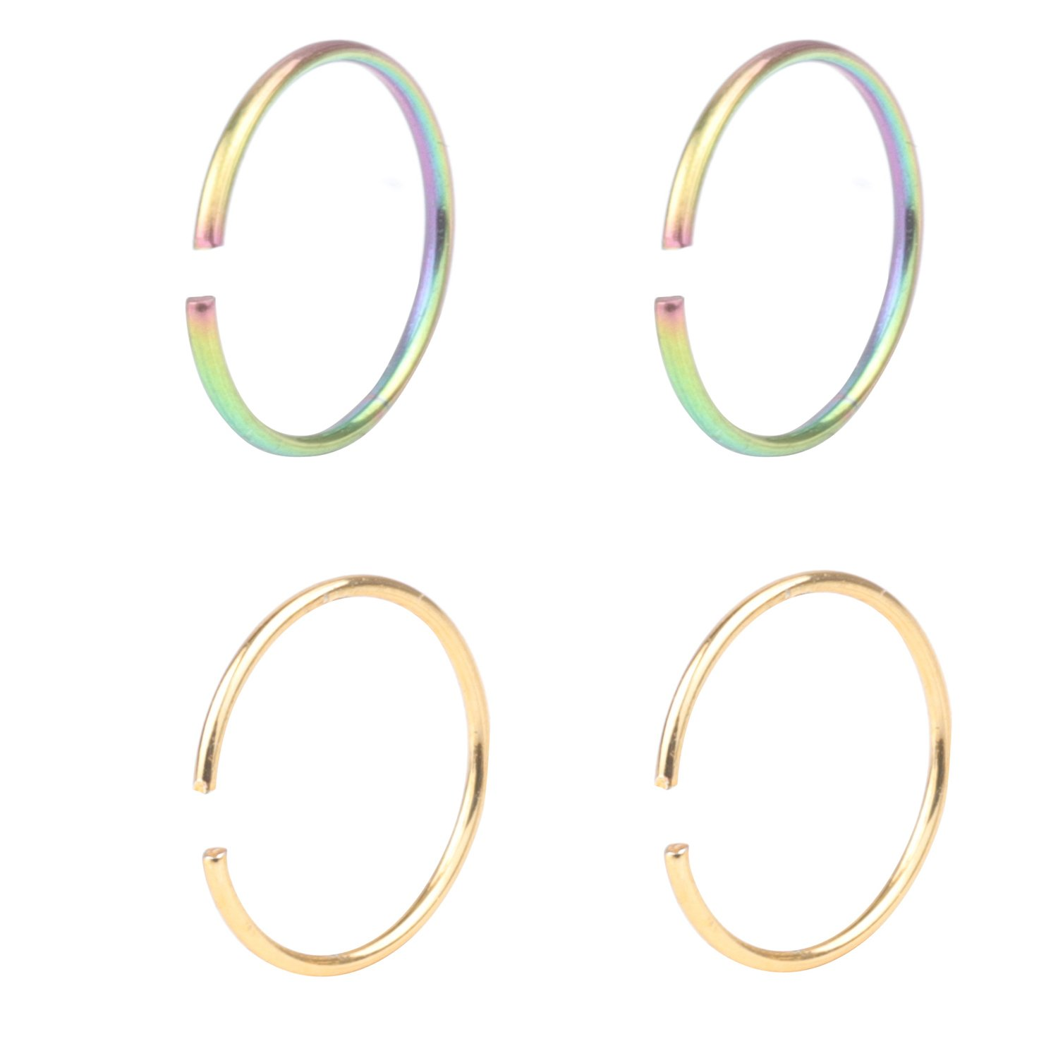 DRS 4pcs 22G Stainless Steel Non-Piercing Fake Clip on Closure Earrings Round Helix Cartilage Tragus Nose Lip Ear Hoop 8mm