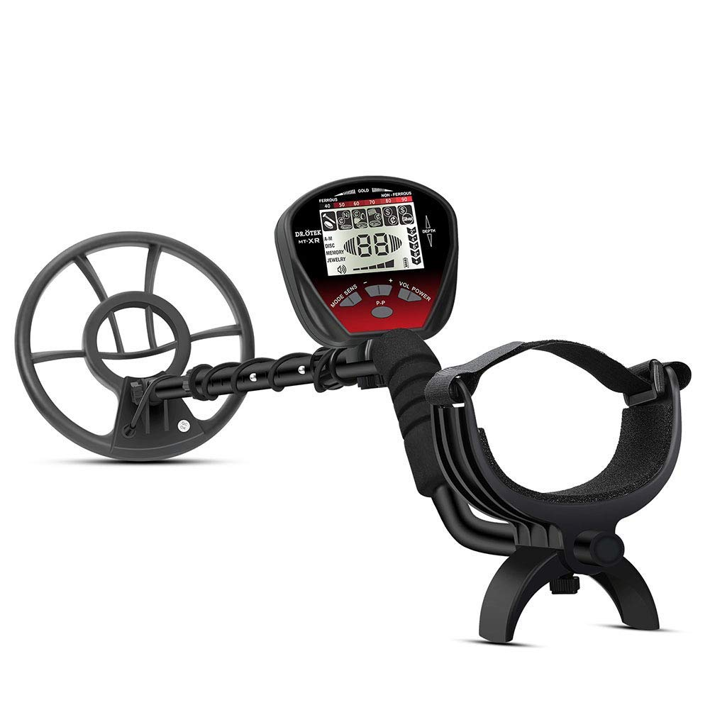 DR.ÖTEK Lightweight Metal Detector with 4+1 Multi-Function. Major Upgrades - Big Waterproof Coil for Greater Depth with Large Backlit LCD, Innovative Memory Mode, Easier to Find Valuables