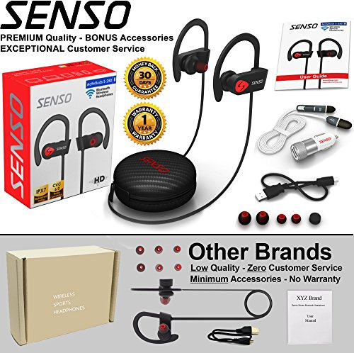 Large Product Image of SENSO Bluetooth Headphones, Best Wireless Sports Earphones w/ Mic IPX7 Waterproof HD Stereo Sweatproof Earbuds for Gym Running Workout 8 Hour Battery Noise Cancelling Headsets