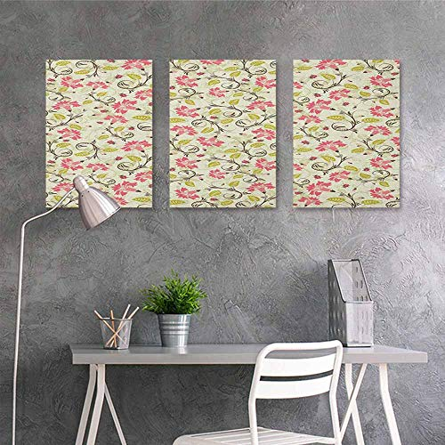 HOMEDD Canvas Pictures,Ladybugs Curving Flower Design with Ladybugs and Retro Features Small Beetles Theme,Office Art Decoration 3 Panels,24x35inchx3pcs Pale Green Pink