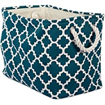 """DII Collapsible Polyester Storage Basket or Bin with Durable Cotton Handles, Home Organizer Solution for Office, Bedroom, Closet, Toys, & Laundry (Medium – 16x10x12""""), Teal Lattice"""