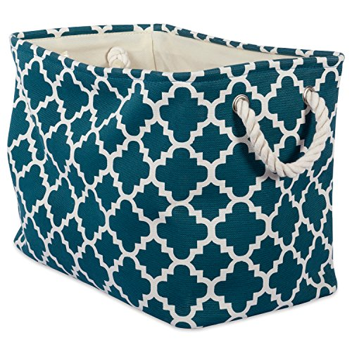 "DII Collapsible Polyester Storage Basket or Bin with Durable Cotton Handles, Home Organizer Solution for Office, Bedroom, Closet, Toys, & Laundry (Medium – 16x10x12""), Teal Lattice"