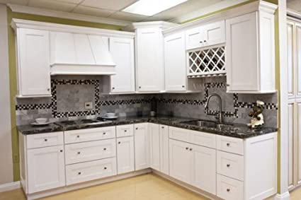 Amazon.com: 10 x 10 Kitchen Cabinets (Shaker Designer White ...