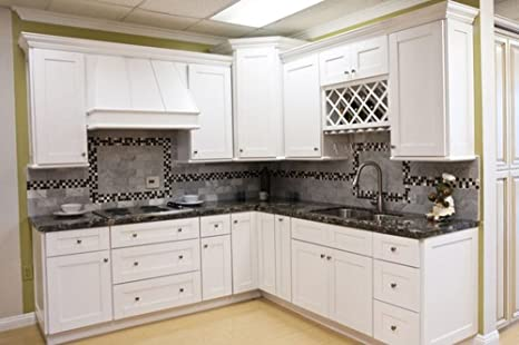 All Wood Kitchen Cabinets (10 x 10 Kitchen) (Shaker Designer White) WITH  FREE SINK BASE
