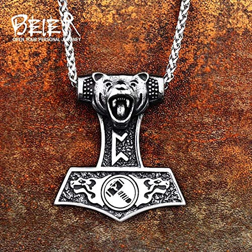 Metal Color: BP8-353 Davitu Stainless Nordic Vikings Bear Print Amulet Pendant Necklace The Norse Wolf Pendant Necklace Nordic Talisman BP8-353