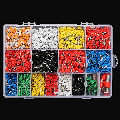 2120 Pcs Wire Copper Crimp Connectors, 5-22 AWG Insulated Cord Pin End Terminal Connectors Quick Connect Terminals Kit with Storage Box(19513035mm,19513035mm) by GEZICHTA (Image #2)