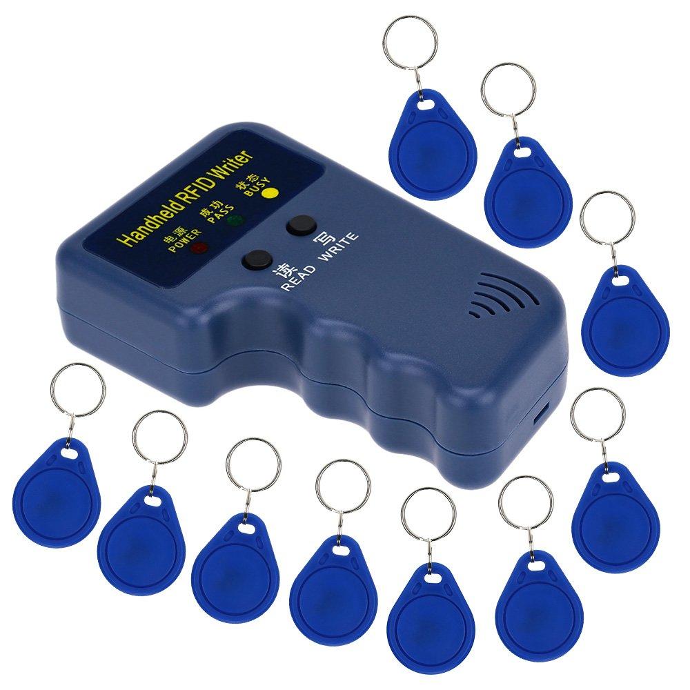 LIBO Portá til 125khz RFID Duplicador Teclear Copia Lector Escritor ID Tarjeta Clonador Programador + 10pcs Escribir EM4305/T5577 Teclear Tarjeta Llavero LIBO Smart Home SCReader01