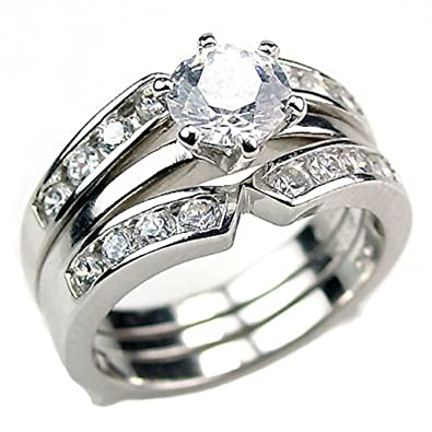 sterling silver 22ct russian ice on fire cz 2 pc wedding ring set with ring - Solitaire Wedding Ring Sets
