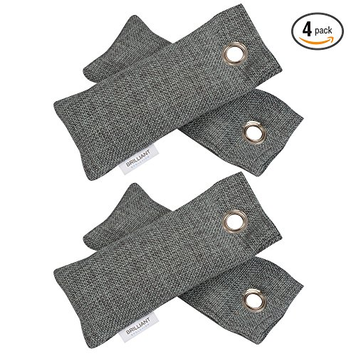 Brilliant Evolution BRRC201 Natural Bamboo Charcoal Air Purifier and Shoe Deodorizer Bags, Odor Eliminator, Air Freshener, 4 Pack (Two Packs of Two Bamboo Charcoal ()