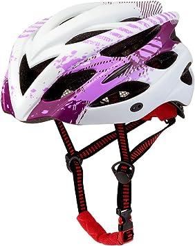 ILKJ Cascos Bici Mujer Púrpura Blanco, Carretera Casco de ...