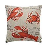 TRENDIN 18'' X 18'' Vintage Red Lobster Linen Cushion Cover Throw Pillow Case Sofa Decor(PL137)