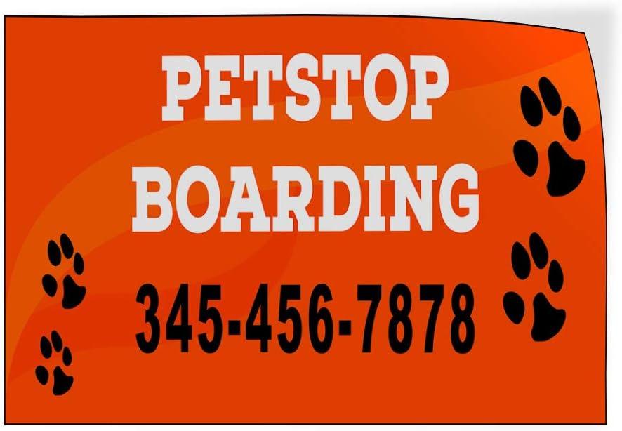 Custom Door Decals Vinyl Stickers Multiple Sizes Petstop Boarding Phone Number Orange Business Petstop Boarding Outdoor Luggage /& Bumper Stickers for Cars Orange 58X38Inches Set of 2