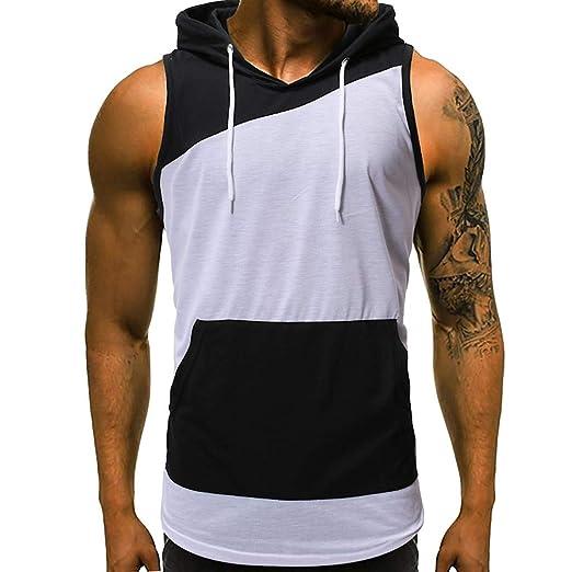 53f9ec12 Men's Patchwork Hooded Tank Tops Workout Bodybuilding Muscle Cut Off T  Shirt Sleeveless Gym Hoodies (