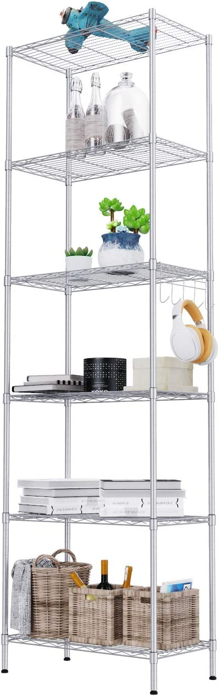 6-Shelf Wire Shelving Units, Heavy Duty Metal Shelf Wire Rack with Leveling Feet, Adjustable Utility Storage Shelves for Garage, Kitchen, Living Room, Bathroom, 21.26L x 11.42W x 62.99H