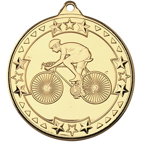 Lapal Dimension CYCLING 'TRI STAR' MEDAL - GOLD 2in PACK OF TEN by Lapal Dimension
