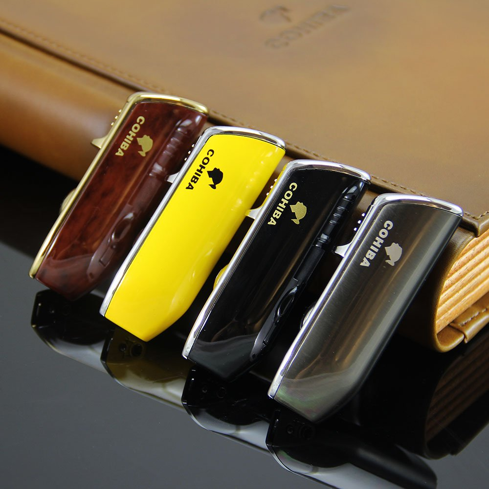 Cohiba Triple Torch 3 Jet Blue Flame Luxury Cigar Windproof Refillable Gas Lighter With Gift Box Classic Yellow