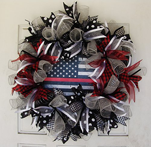 Custom Sheriff Badge Costumes (Firefighter Lives Matter Deco Mesh Front Door Wreath, Thin Red Line, Patriotic Support American Flag, Firehouse Firestation Wall Art Decor)