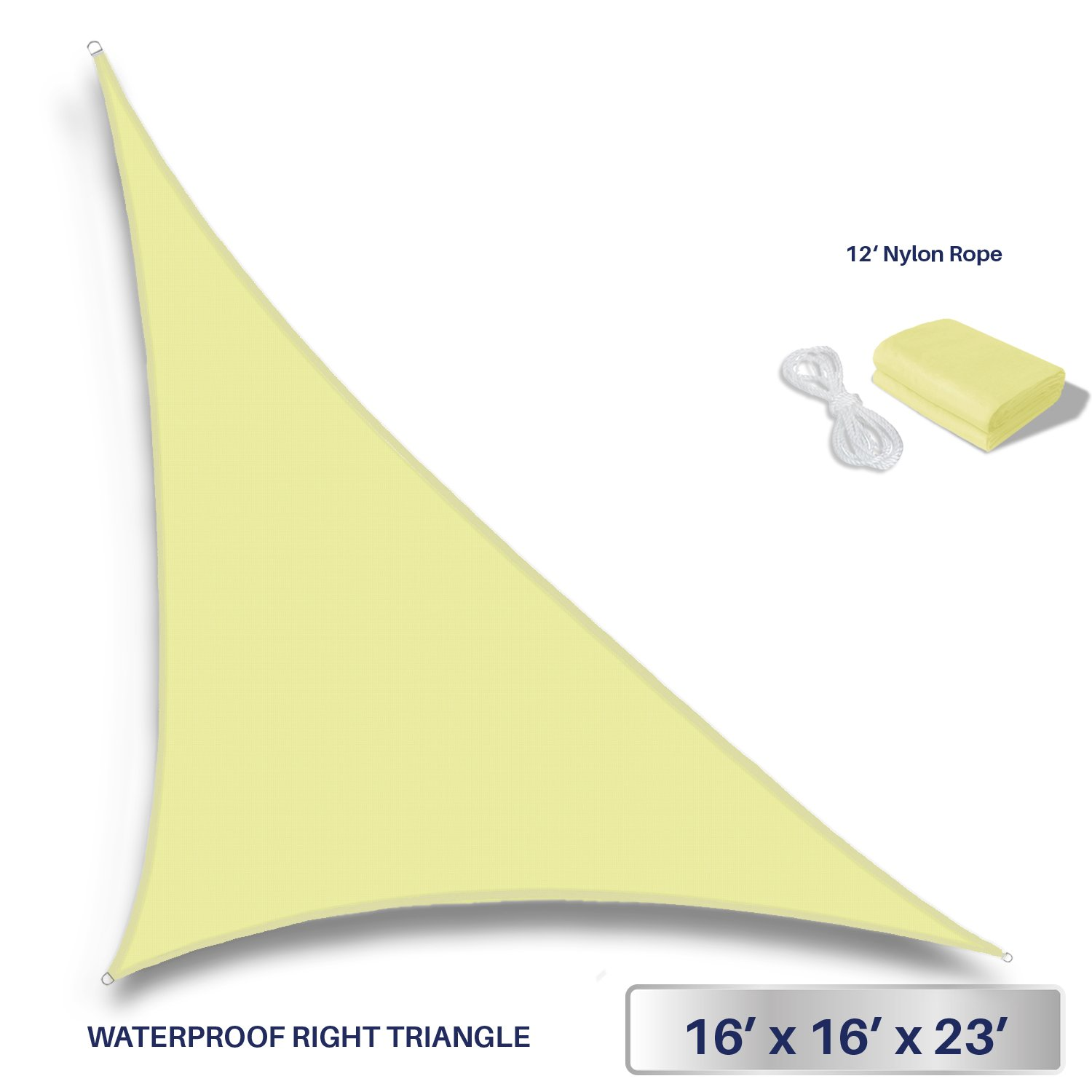 Windscreen4less Terylene Waterproof Sun Shade Sail UV Blocker Triangle Sunshade Patio Canopy Sail 16' x 16' x 22.6' in Color Canary Yellow