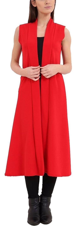 Islander Fashions Womens Ouvert Avant crpe Long Manteau Taille Maxi Ladies sans Manches Uni Gilet S, M, L