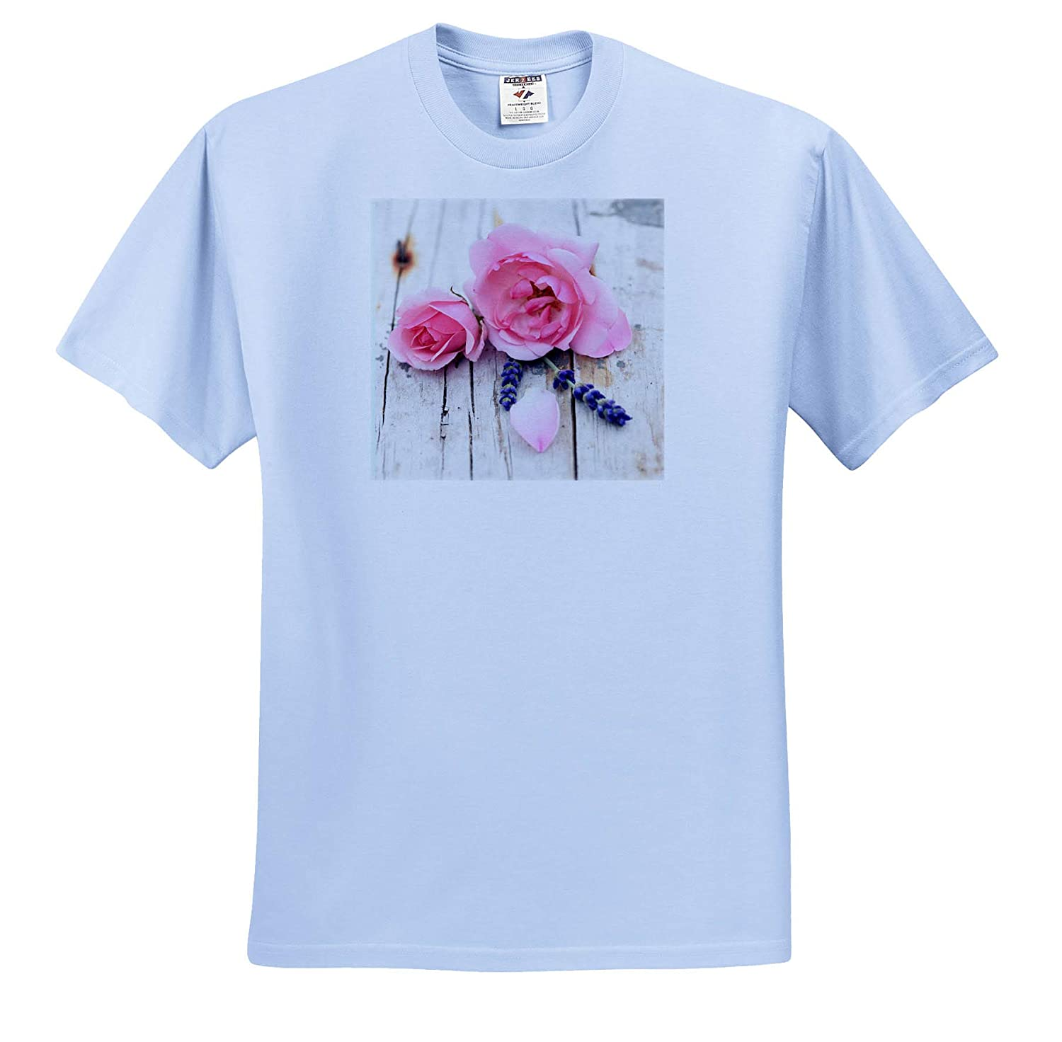 Romantic Pink Tiny Vintage Rose Blossoms and Leaves On Rustic Wood T-Shirts 3dRose Uta Naumann Photography Stilllife
