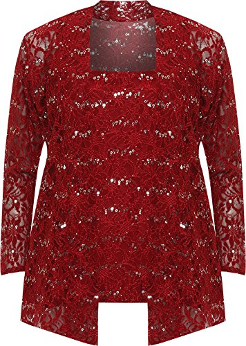 WEARALL Women's Plus Floral Lace Sequin Long Sleeve Vest Top Cardigan Party Set - Wine - US 18-20 (UK 22-24)