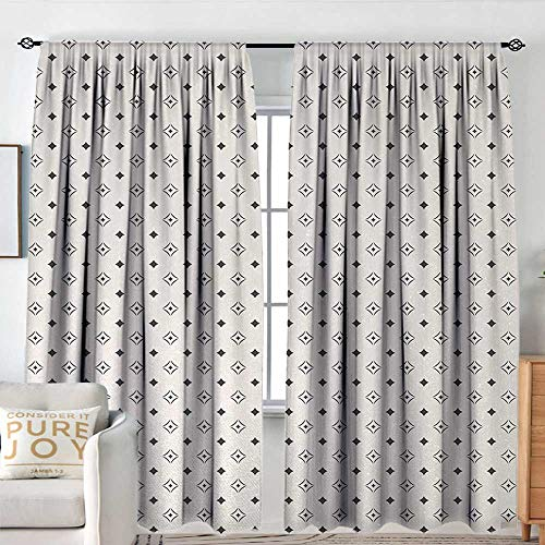 Petpany Blackout Curtains for Bedroom Geometric,Old Fashioned Wallpaper Design with Floral Like Geometrical Icons Art,Charcoal Grey Beige,Darkening and Thermal Insulating Draperies 84